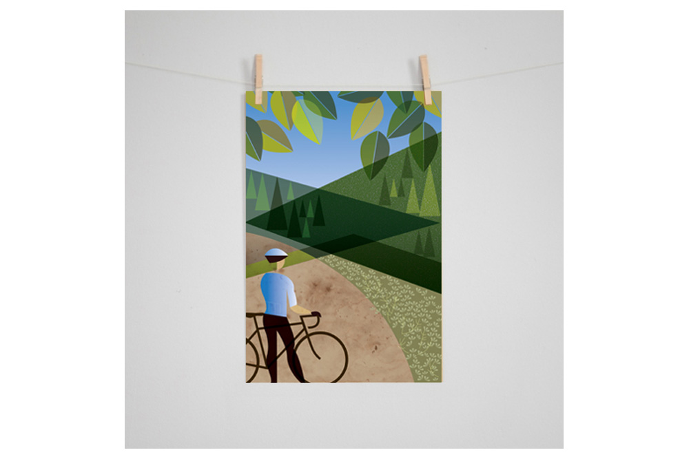 Oregon Outback: Vista Cycling Print by Eleanor Grosch