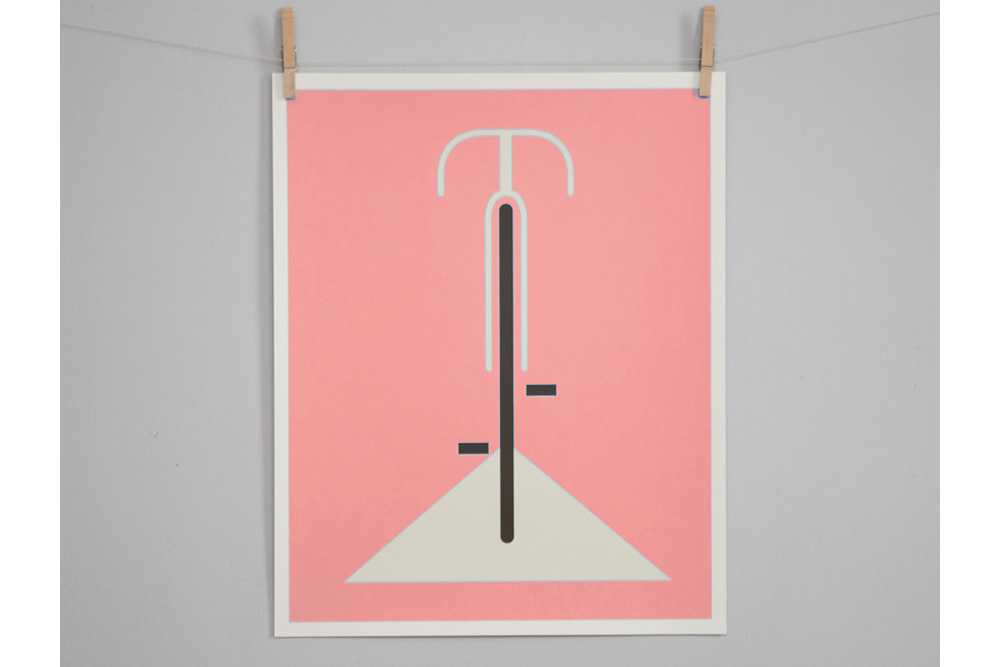 Simple Pink Bicycle Print by Eleanor Grosch