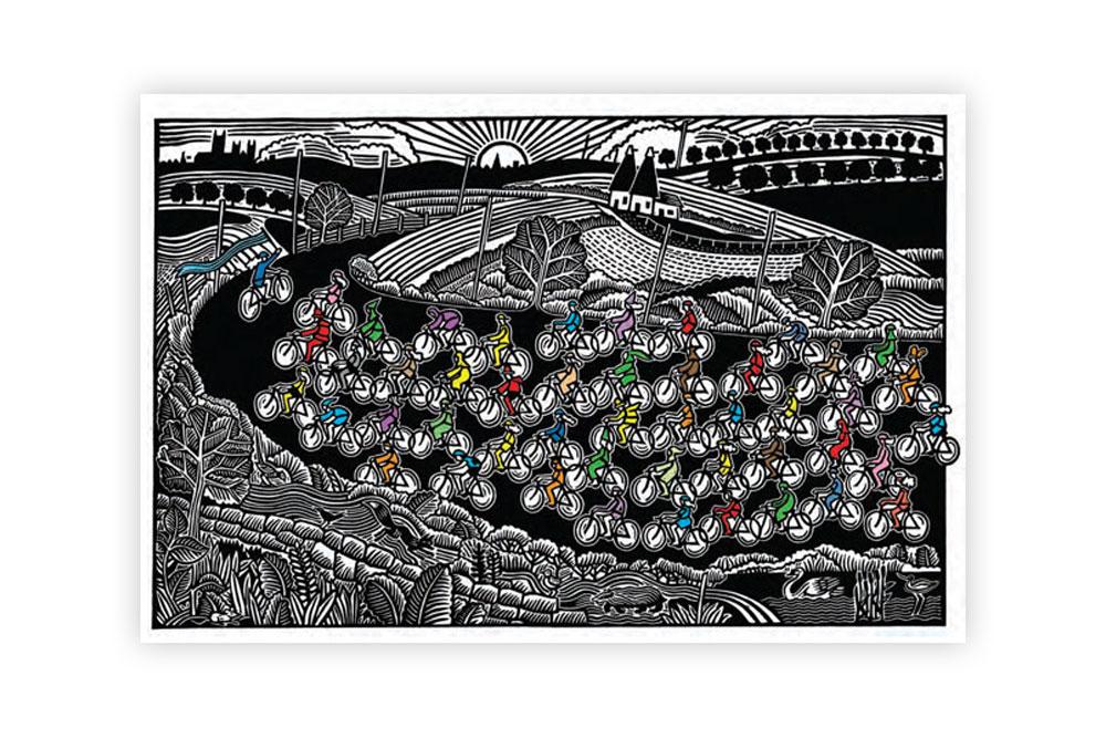 Le Tour Des Pilgrims Cycling Print by Hugh Ribbans