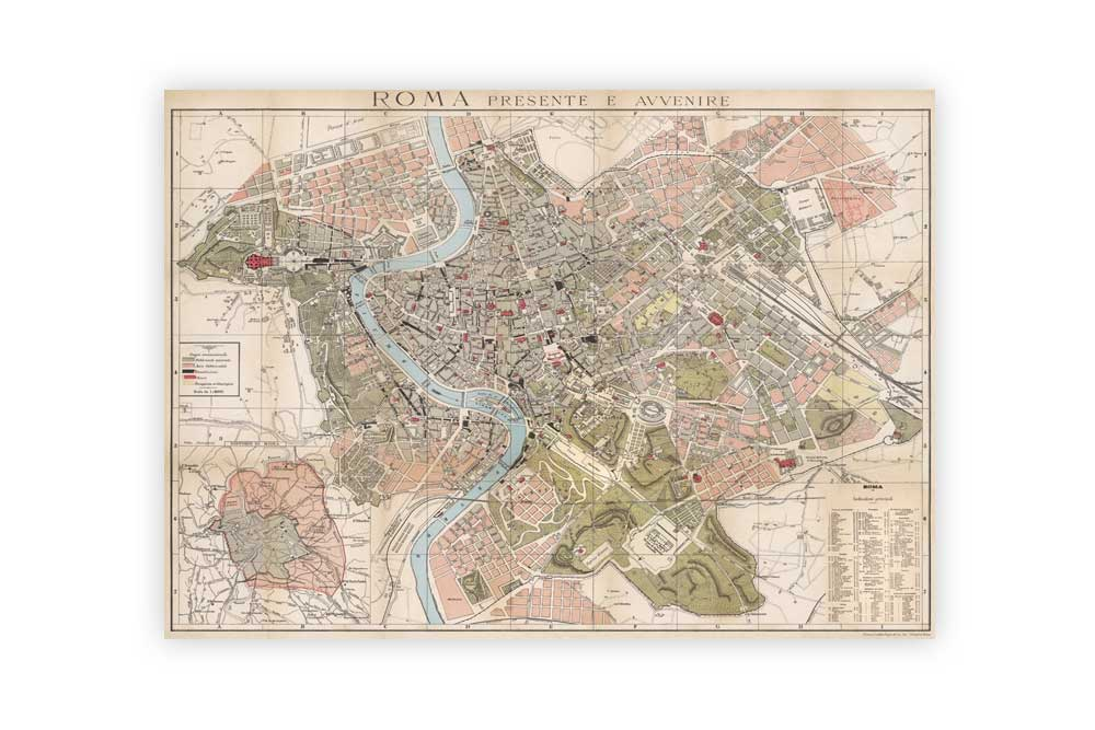 Map of Rome Poster Paper - CycleMiles