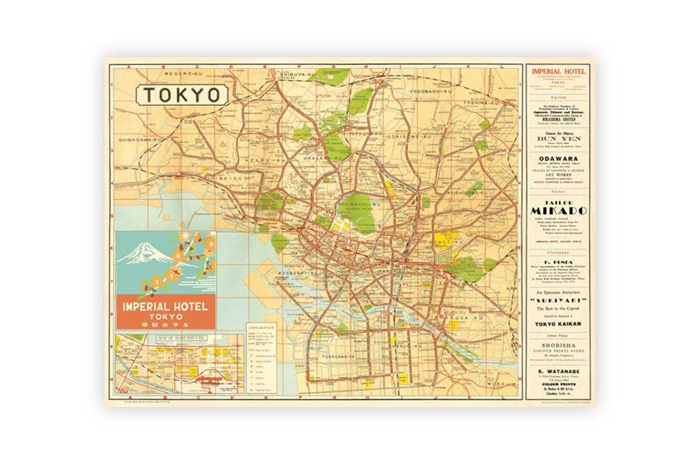 Map of Tokyo Poster Paper CycleMiles
