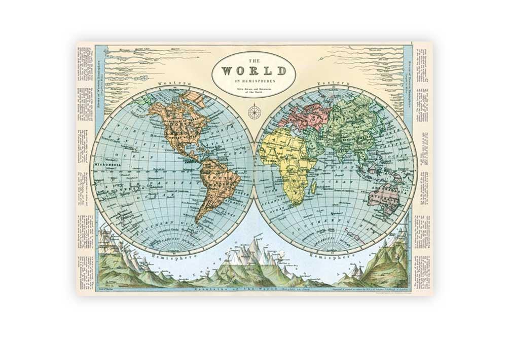 Hemispheres Map Poster Paper