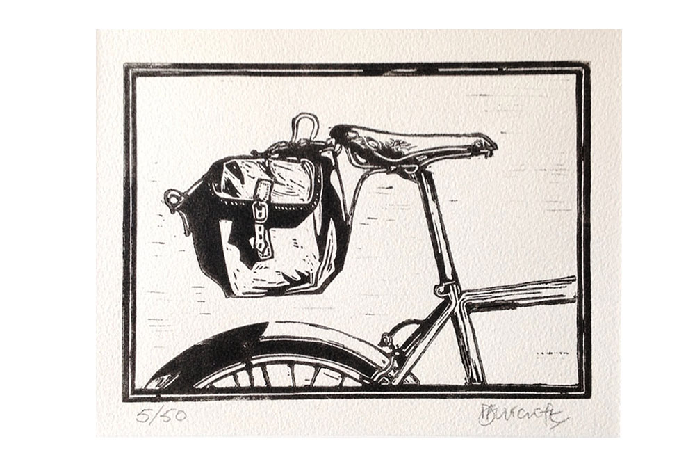 SaddleBag Cycling Print by Dave Flitcroft