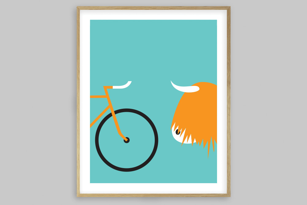 Highland Fling Bicycle Poster by Rebecca J Kaye