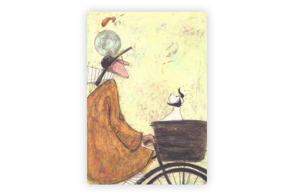 Rover does a back flip Bicycle Greeting Card