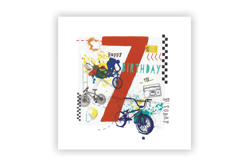 Happy 7th Birthday Bicycle Greeting Card Cyclemiles