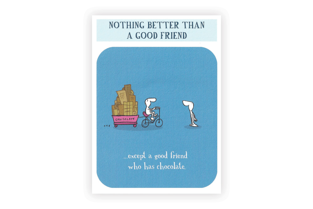 Good friend with chocolate Bicycle Greeting Card