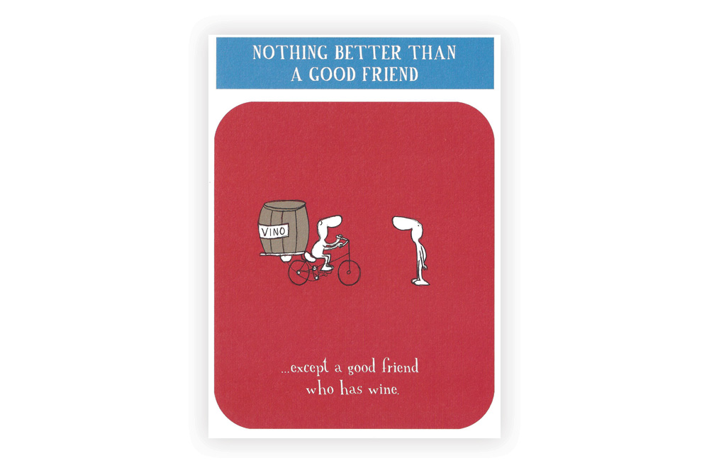 Good friend with wine Bicycle Greeting Card