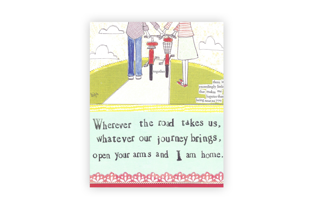 Curly Girl Bicycle Greeting Card