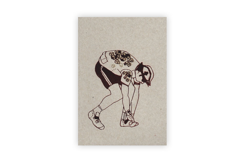 Crouching Cyclist Bicycle Greeting Card by Kim Jenkins