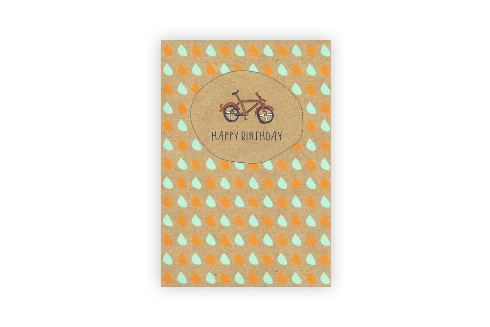 Pocket Typewriter Happy Birthday Bicycle Greeting Card