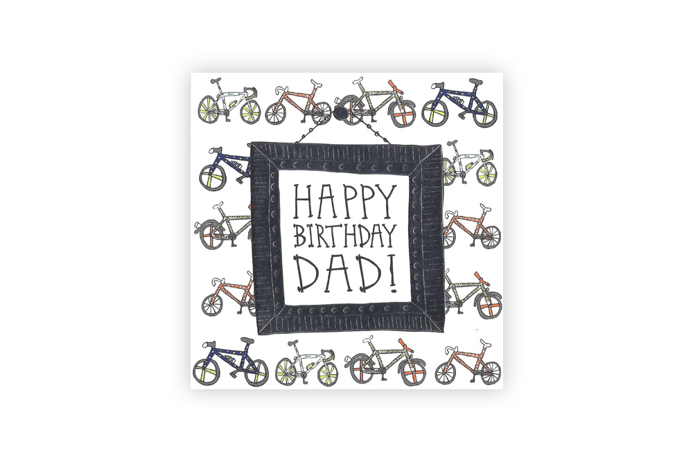 Pocket Typewriter Happy Birthday Dad Bicycle Greeting Card