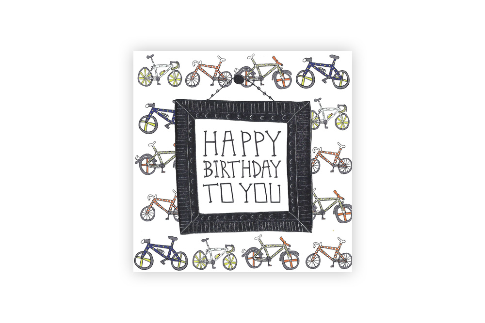 Pocket Typewriter Happy Birthday to You Bicycle Greeting Card