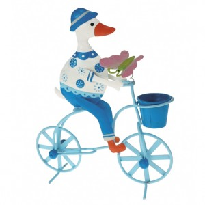 Metal Duck on a Bicycle Ornament