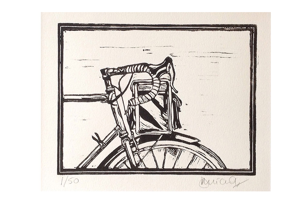 Handlebar Bag Cycling Print by Dave Flitcroft