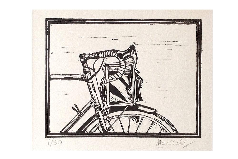 Handlebar Bag Cycling Print by Dave Flitcroft