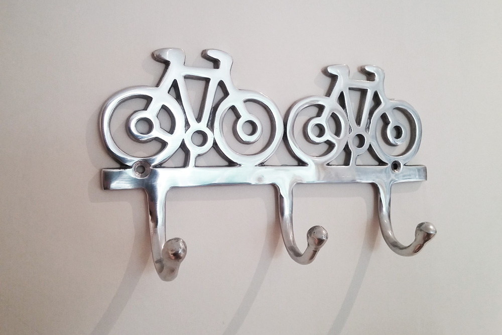 Polished Metal Bicycle Coat Hooks