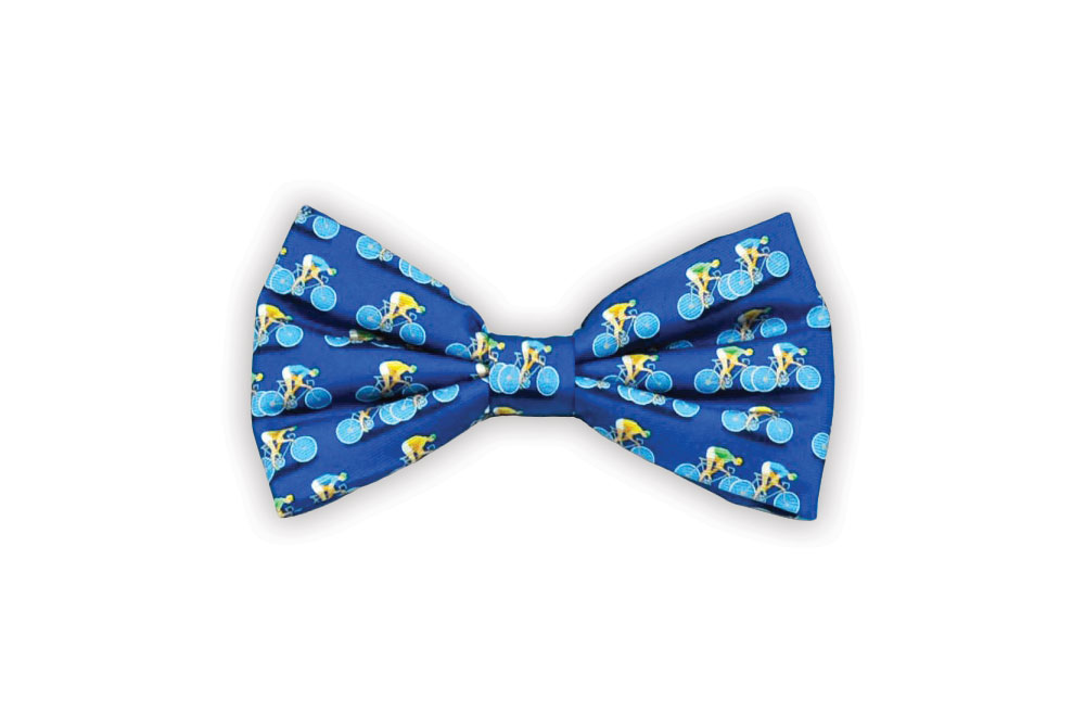 Blue Silk Racing Bicycle Bow Tie