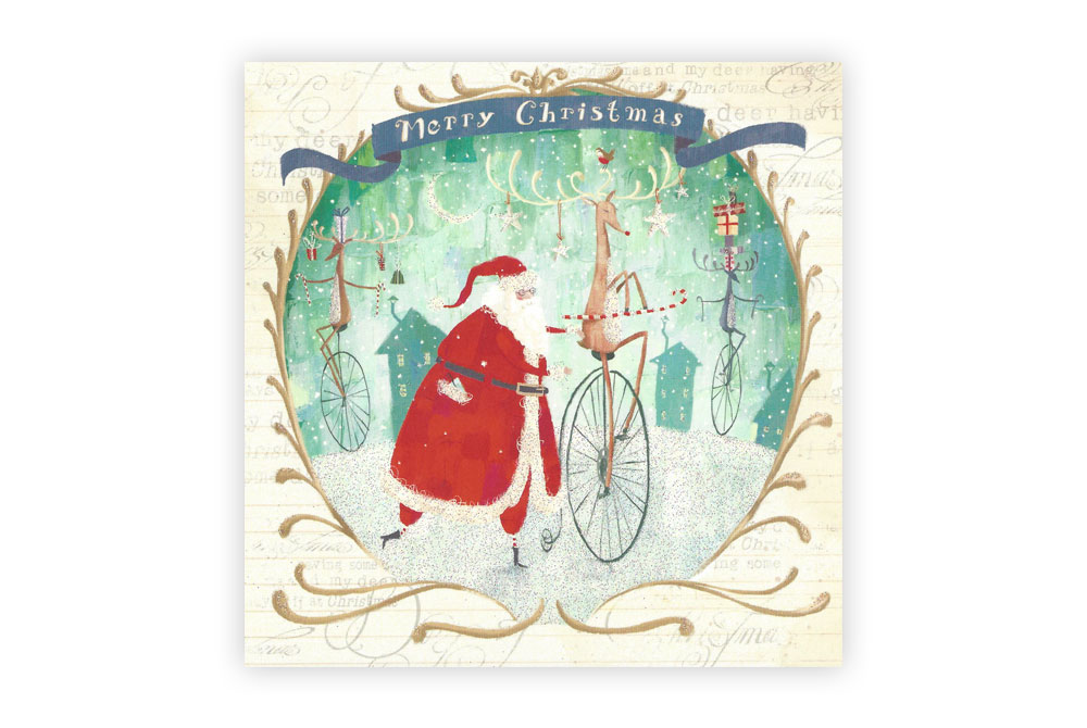 Rudolph Bicycle Christmas Card Pack x 5