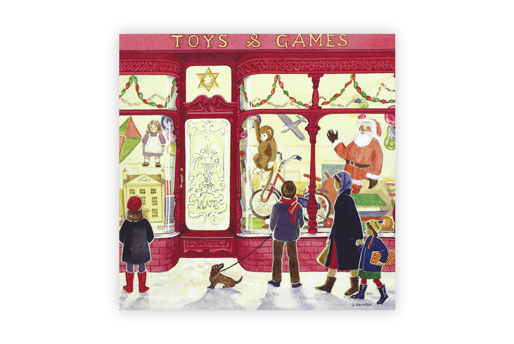 Toy Shop Bicycle Christmas Cards x5