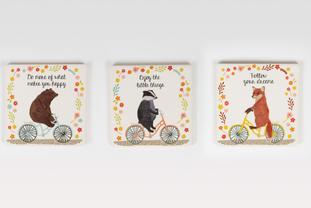Happy Animals on Bicycles Drink Coasters