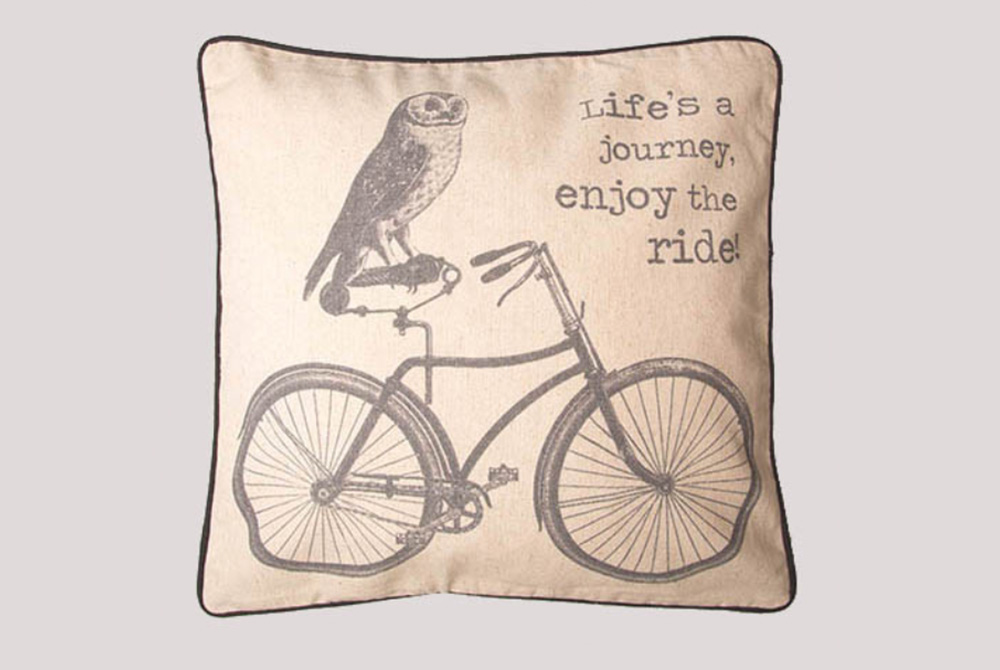 Life's a Journey Owl Bicycle Cushion