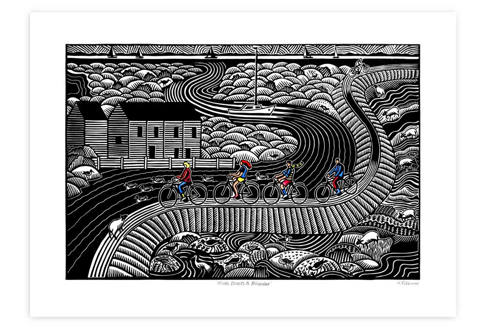 Birds, Boats and Bicycles Cycling Print by Hugh Ribbans