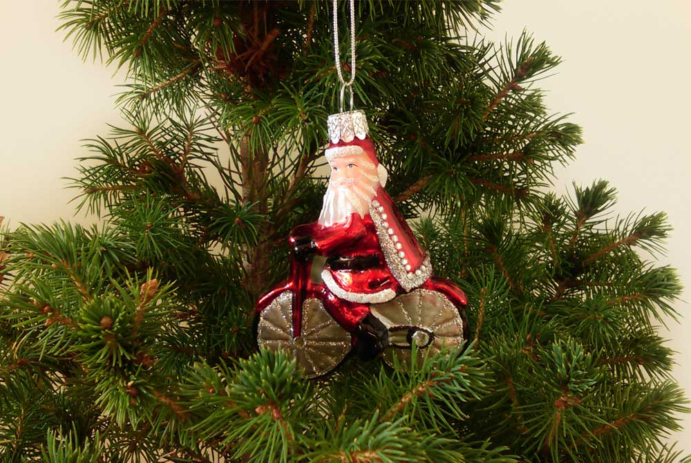 Glittery Santa on a Bicycle Christmas Tree Decorati