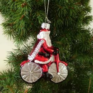 Glittery Santa on a Bicycle Christmas Tree Decoration