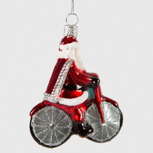 Glittery Santa on a Bicycle Christmas Tree Decoration