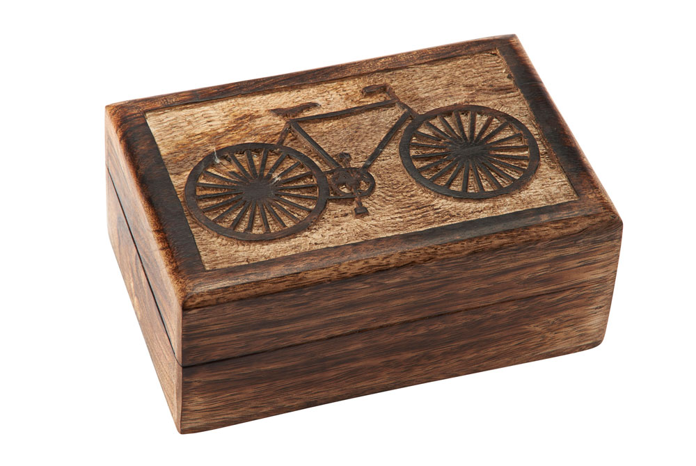 Hand Carved Wooden Bicycle Box