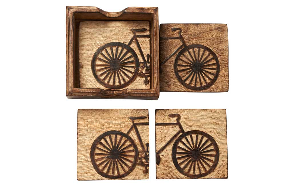 Set of 4 Hand Carved Wooden Bicycle Coasters