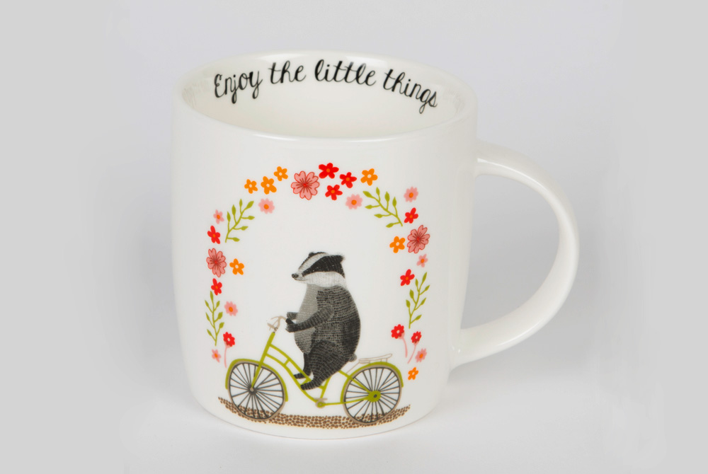 Badger on a Bicycle Mug