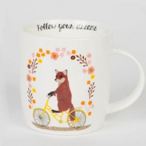 Fox on a Bicycle Mug
