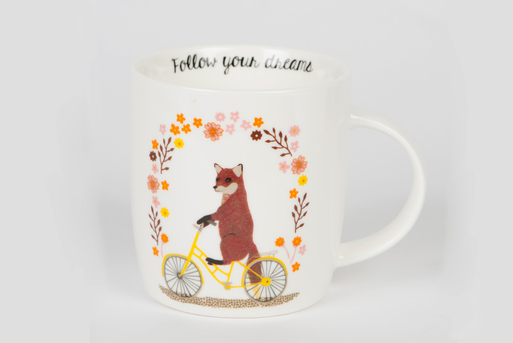 Fox on a Bicycle Mug