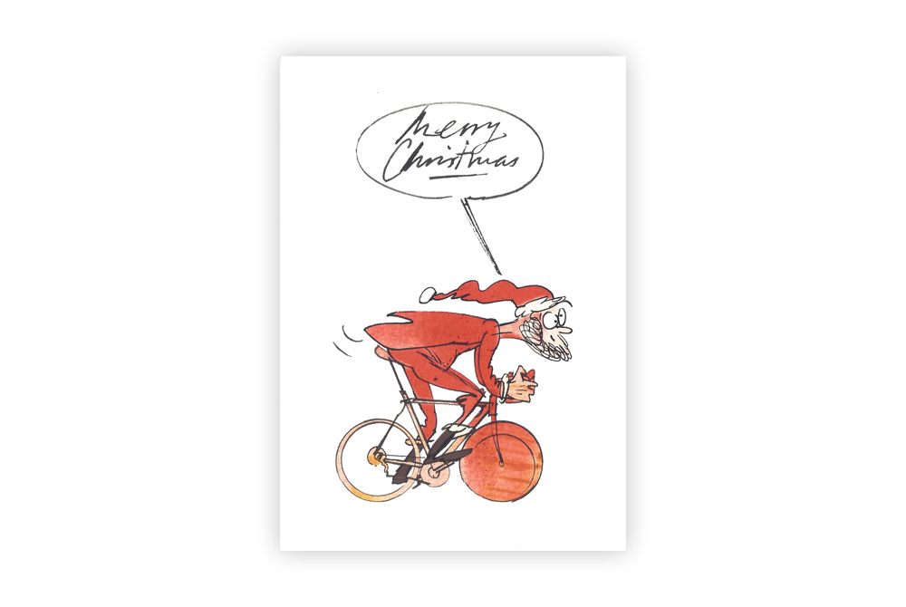 Santa on a Bicycle Christmas Card – Simon Spilsbury