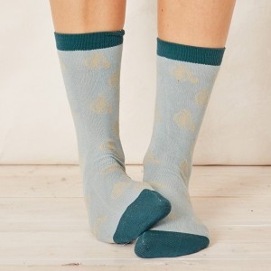 Women's Bamboo Penny Farthing Bicycle Socks - Duck Egg