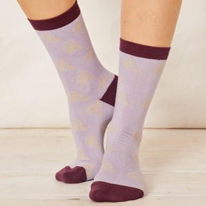 Women's Bamboo Penny Farthing Bicycle Socks - Lilac