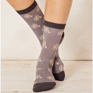 Women's Bamboo Penny Farthing Bicycle Socks - Pebble