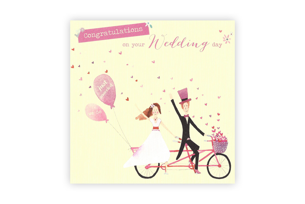 Just Married Bicycle Wedding Card