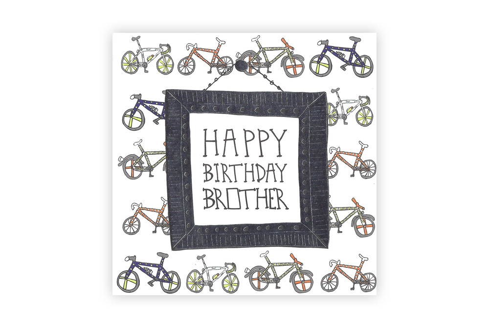 Pocket Typewriter Happy Birthday Brother Bicycle Greeting Card