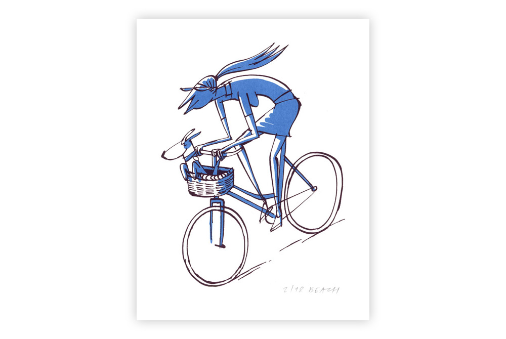 Dog Basket Cycling Screen Print by Beach-O-Matic