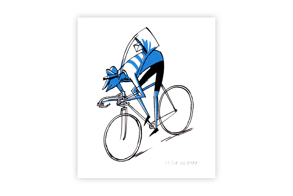 Fixie Cycling Screen Print by Beach-O-Matic