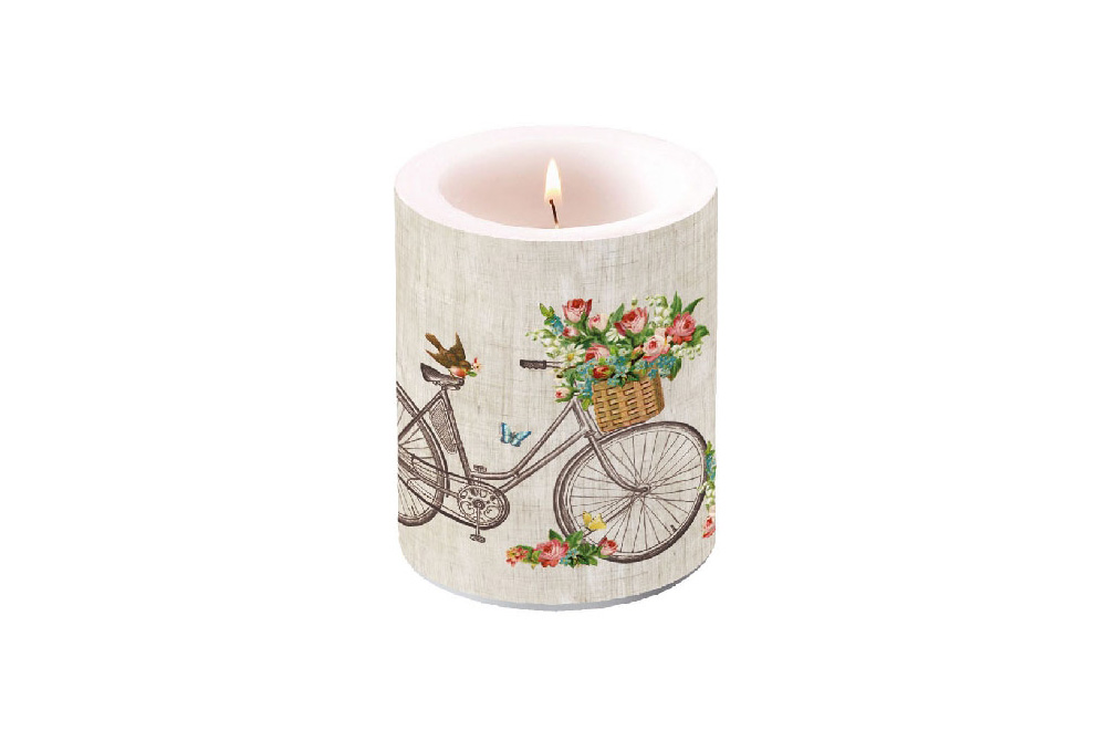 Robin on a Bicycle Candle