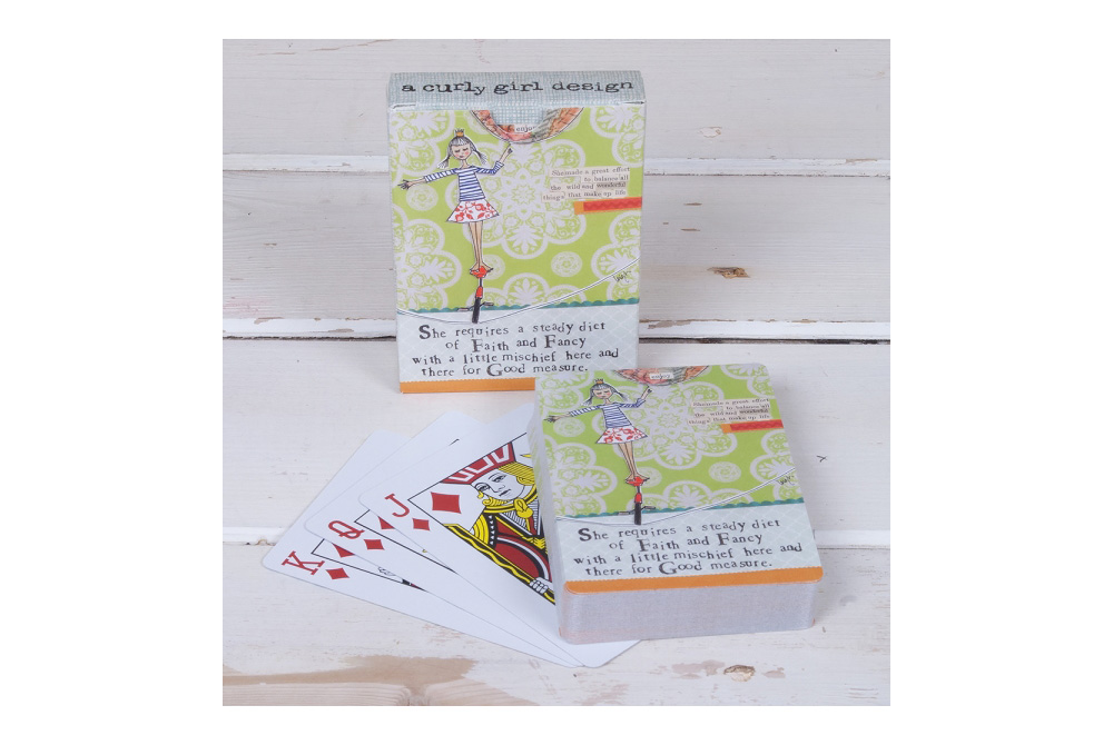 Curly Girl Bicycle Playing Cards