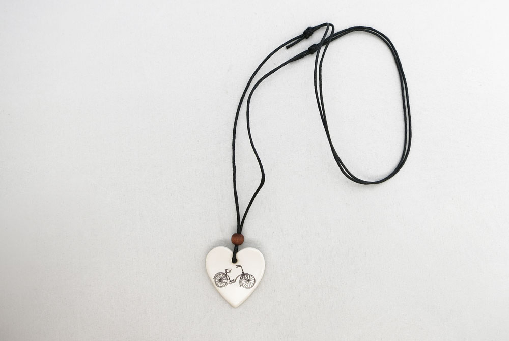 Ceramic Heart Bicycle Necklace