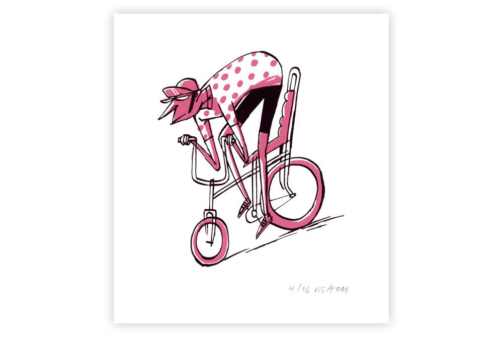 KOM Cycling Screen Print by Beach