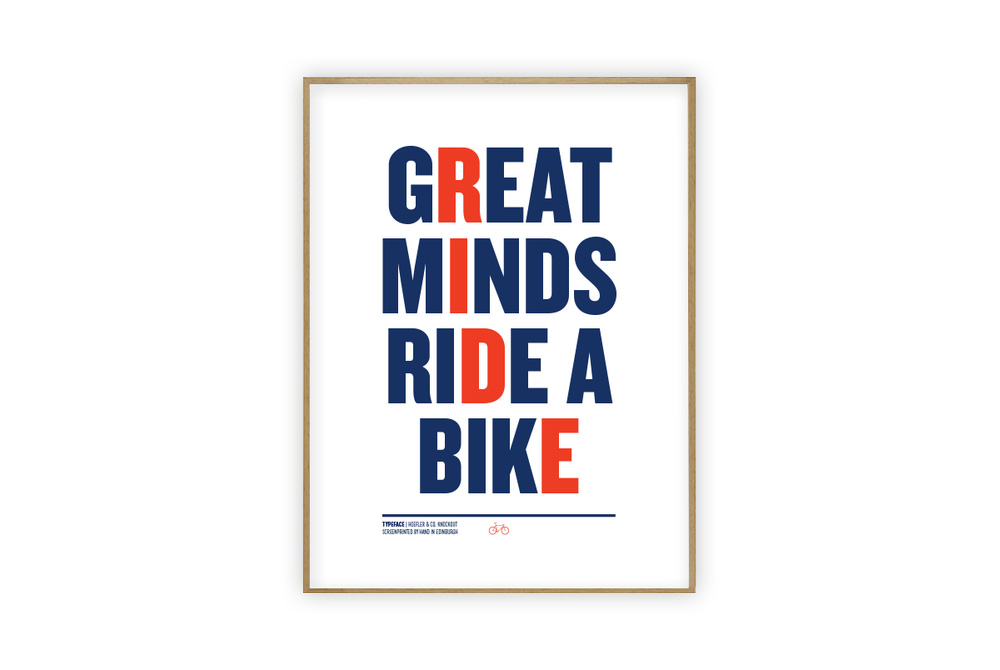 Great Minds Ride Cycling Print by Rebecca J Kaye