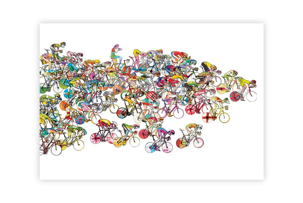 Bunchsprint Cycling Print by Simon Spilsbury