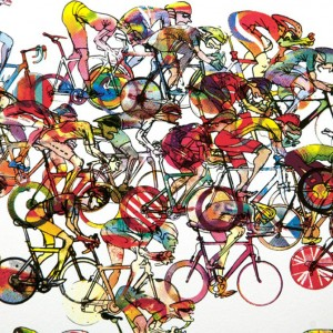 Bunchsprint Cycling Print by Simon Spilsbury